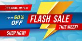 Flash Sale Banner. Lightning Sales Poster, Fast Offer Discount And Only Now Offers Deals Vector Illu poster
