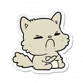 sticker of a cartoon angry cat poster