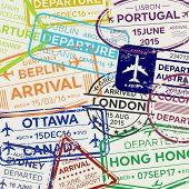 Creative Vector Illustration Of International Business Travel Visa Passport Stamp Set Isolated On Tr poster