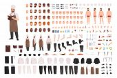 Chef, Cook Or Kitchen Worker Constructor Set Or Creation Kit. Bundle Of Body Parts, Facial Expressio poster
