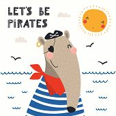 Hand Drawn Vector Illustration Of A Cute Anteater Pirate, With Sea Waves, Seagulls, Quote Lets Be Pi poster