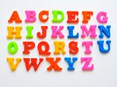 Magnetic Plastic Abc Letters Isolated. Colorful Plastic English Alphabet On A White Background. Lear poster
