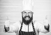 Man Bearded Chef Getting Ready Cooking Delicious Dish. Chef At Work Starting Shift. Guy In Professio poster