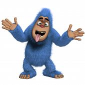 image of bigfoot  - 3 d cartoon cute blue yeti monster - JPG