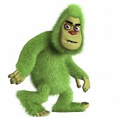 stock photo of bigfoot  - 3 d caertoon cute green monster bigfoot - JPG
