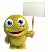 Yellow Toy Holding Banner