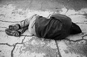stock photo of scourge  - hobo sleep on the street special toned photo f - JPG