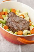 pic of dutch oven  - Beef Roast prepared with carrots apples and celery in french oven - JPG