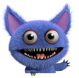 stock photo of gremlins  - 3 d cartoon cute furry gremlin monster - JPG