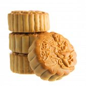 Traditional mooncakes isolated on white background. Chinese mid autumn festival foods. The Chinese w
