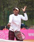 KHARKOV, UKRAINE - APRIL 20: Serena Williams on the court during training game on Fed Cup Tie betwee
