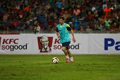 KUALA LUMPUR - AUGUST 9: FC Barcelona 's Lionel Messi practices during training at the Bukit Jalil S