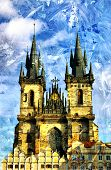 Prague cathedral - picture in painting style