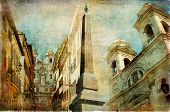 Rome - Spanish steps - artistic collage in painting style