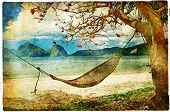 tropical scene- artwork in painting style