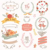Wedding romantic collection with labels, ribbons, hearts, flowers, arrows, wreaths, laurel and birds