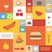 image of bag-of-dog-food  - Color tiles with food icons collection - JPG