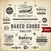 image of food logo  - Set of vintage bakery logo badges and labels for retro design - JPG