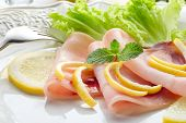 pic of swordfish  - swordfish carpaccio with green salad  - JPG