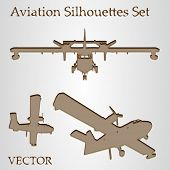 Vector vintage old set of brown planes drawings on beige background, a group or collection of aircra