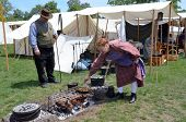 Civil-war Era Reenactor Cooking