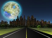 Terraformed moon as seen from highway on future earth