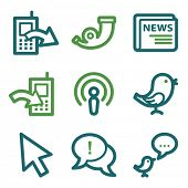 Internet web icons, green line set