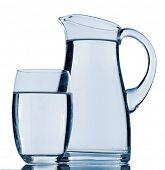 carafe and a glass of water, symbolic photo for drinking water, refreshment, demand and consumption