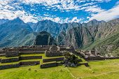 Industrial zone and Main Square Machu Picchu, Incas ruins in the peruvian Andes at Cuzco Peru