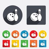 Bowling game sign icon. Ball with pin skittle.