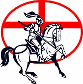 English Knight Riding Horse England Flag Circle Retro