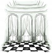 sketch of a classic parlor ballroom hall