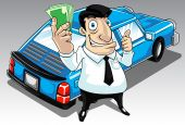 picture of payday  - Image of a man who get approval for his car loan - JPG