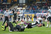 WIENER NEUDORF,  AUSTRIA - APRIL 20 RB Jaycen Taylor Spears (#7 Raiders) scores a touchdown during t