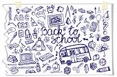 stock photo of drow  - Back to School Supplies Sketchy Notebook Doodles lettering with  Swirls - JPG