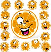 image of rogue  - orange cartoon with many expressions isolated on white background - JPG