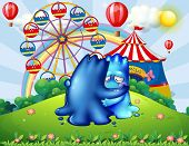 pic of hilltop  - Illustration of the two monsters comforting each other at the hilltop with a carnival - JPG