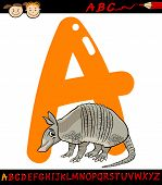 image of armadillo  - Cartoon Illustration of Capital Letter A from Alphabet with Armadillo Animal for Children Education - JPG