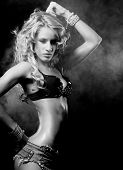 picture of striptease  - Fashion shoot of young sexy striptease dancer black and white picture - JPG