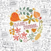 stock photo of drow  - Back to school design template with autumn leaves - JPG