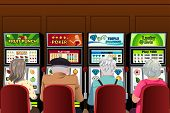 stock photo of slot-machine  - A vector illustration of senior people playing slot machines in the casino - JPG