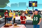 stock photo of bbq party  - A vector illustration of American football fans having a tailgate party - JPG