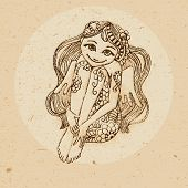 picture of virgo  - Hand drawn girl angel ornament with elements in the ethnic style - JPG