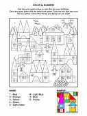 picture of colorful building  - Color by numbers activity page for children with toy town scene made of colorful building blocks - JPG