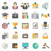 stock photo of human resource management  - Set of modern flat vector icons suitable for business resume and the searching of human resources for a company - JPG