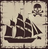 picture of brigantine  - Large ship and skull over old paper - JPG