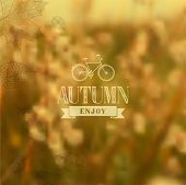 image of fall decorations  - Enjoy Autumn vintage label with abstract blurred fall leaves background - JPG