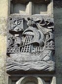 foto of sloop  - Church boat carving photographed at Tiverton in Devon - JPG