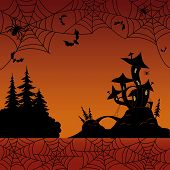 pic of magical-mushroom  - Holiday Halloween landscape with silhouetted magic Castle  - JPG