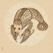 pic of cancer horoscope icon  - Hand drawn cancer ornament with elements in the ethnic style - JPG